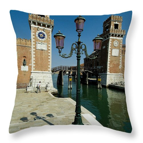 Photography Throw Pillow featuring the photograph Canal Leading Into The Arsenale by Todd Gipstein