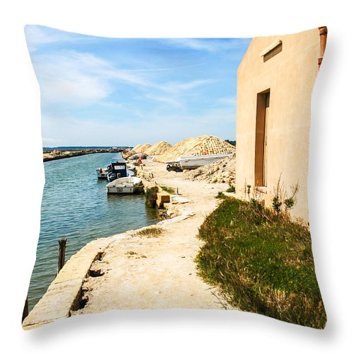 Europe Throw Pillow featuring the photograph Canal - Trapani Salt Flats by Kayme Clark