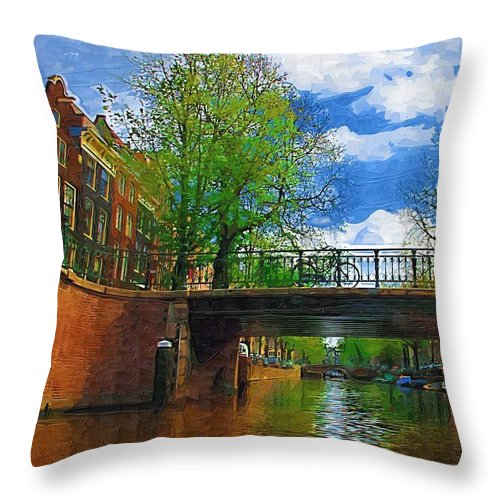 Amsterdam Throw Pillow featuring the photograph Canals Of Amsterdam by Tom Reynen
