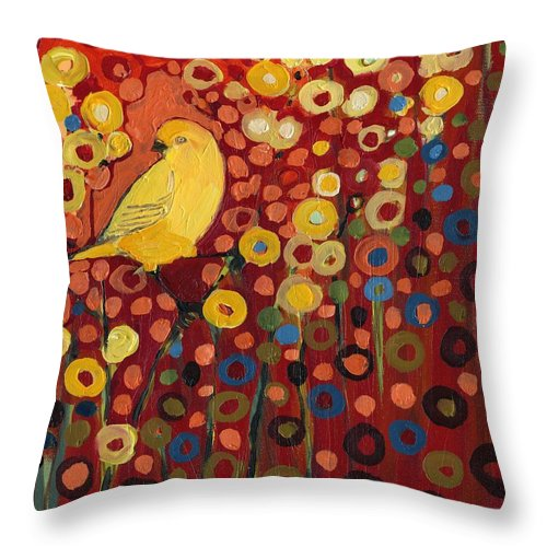 Canary Throw Pillow featuring the painting Canary in Red by Jennifer Lommers