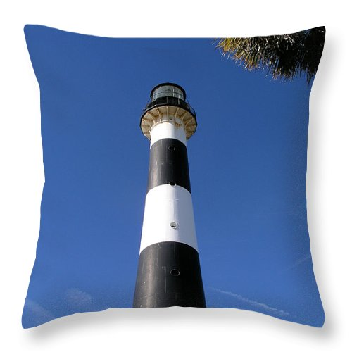 Cape; Canaveral; Light; Lighthouse; Lighthousekeeper; Keeper; Stairs; Kennedy; Space; Center; Air; F Throw Pillow featuring the photograph Canaveral Light by Allan Hughes