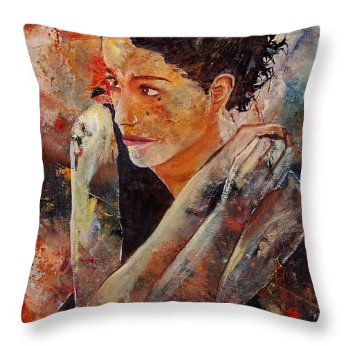 Figurative Throw Pillow featuring the painting Candid Eyes by Pol Ledent