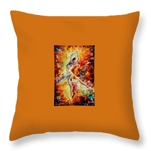 Danse Throw Pillow featuring the painting Candle Fire by Leonid Afremov