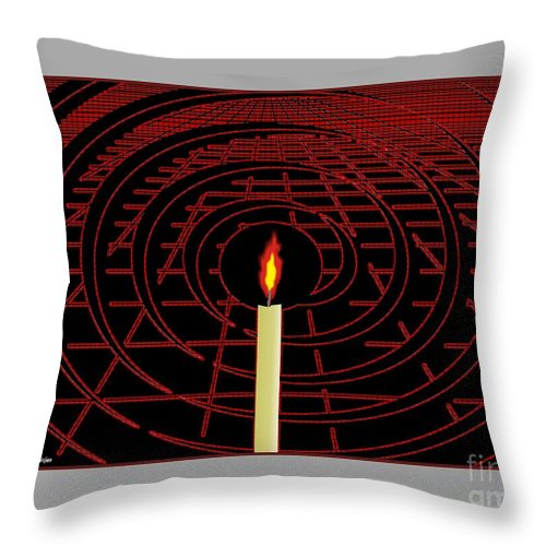 Abstract Throw Pillow featuring the mixed media Candle Of Faith And Hope by Michael Mirijan