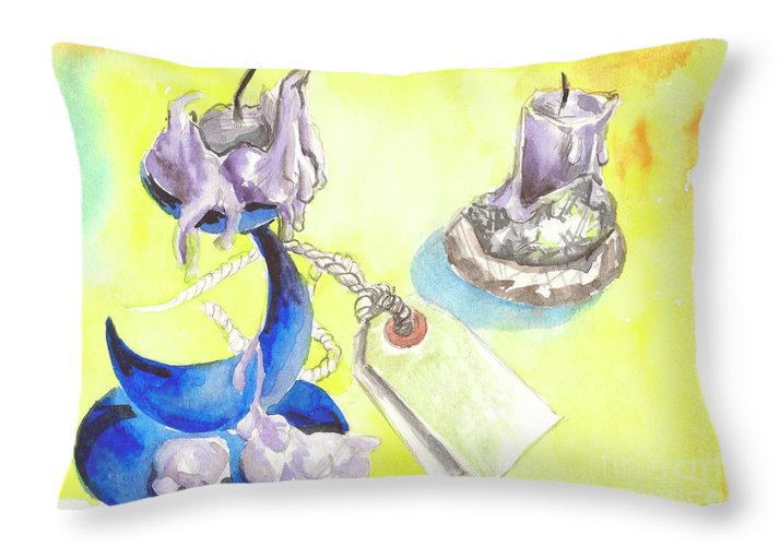 Candlestick Throw Pillow featuring the painting Candle by Yana Sadykova