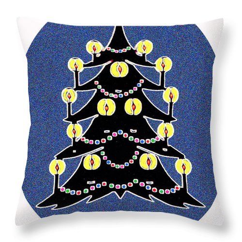 Christmas Throw Pillow featuring the digital art Candlelit Christmas Tree by Nancy Mueller