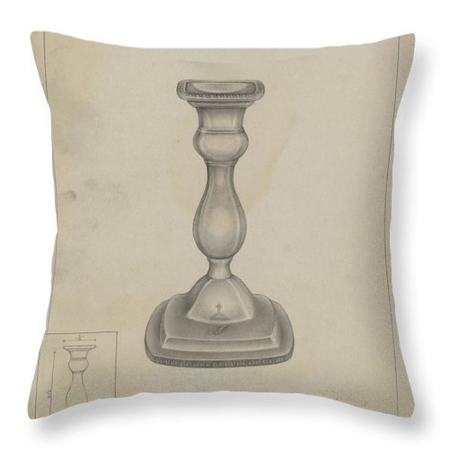 Throw Pillow featuring the drawing Candlestick by Milton Grubstein