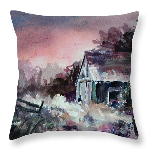 Shack Throw Pillow featuring the painting Candy Cane by Rachel Christine Nowicki