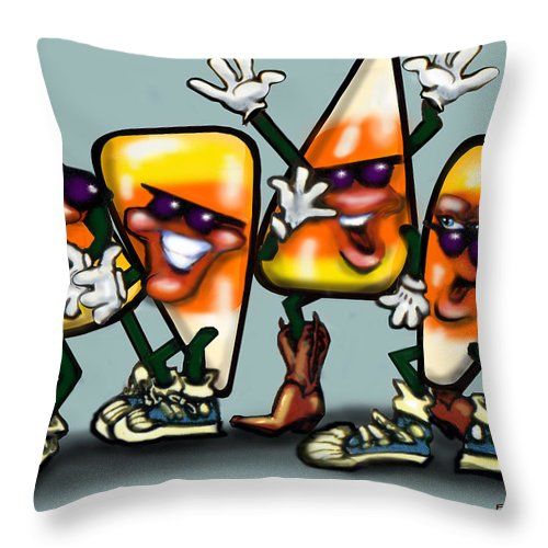 Candy Throw Pillow featuring the digital art Candy Corn Gang by Kevin Middleton