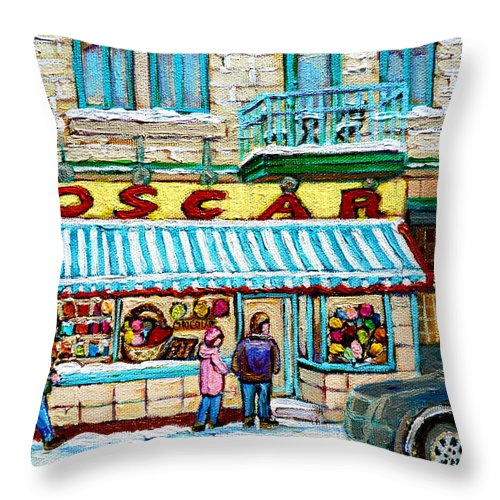Candy Shop Throw Pillow featuring the painting Candy Shop by Carole Spandau