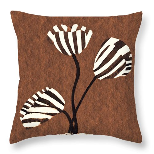Tulip Throw Pillow featuring the mixed media Candy Stripe Tulips 3 by Sarah Loft