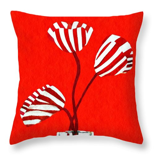 Tulip Throw Pillow featuring the mixed media Candy Stripe Tulips by Sarah Loft