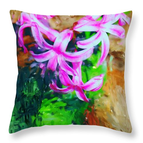 Throw Pillow featuring the photograph Candy Striped Hyacinth by David Lane
