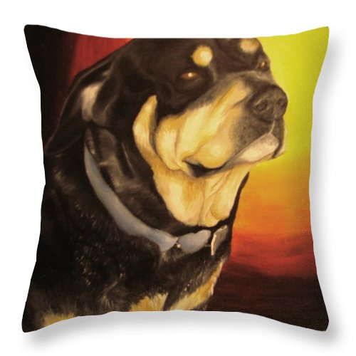 Paintings Throw Pillow featuring the painting Canine Vision by Glory Fraulein Wolfe