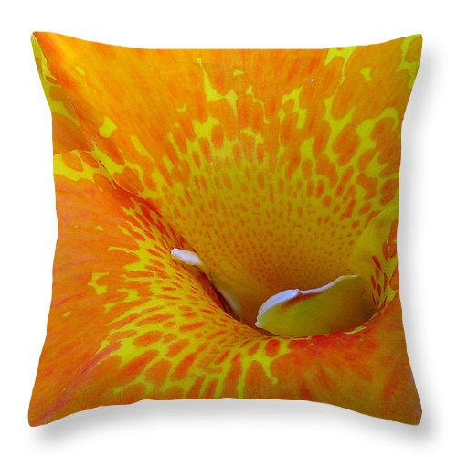 Orange Yellow Flower Throw Pillow featuring the photograph Canna by Luciana Seymour