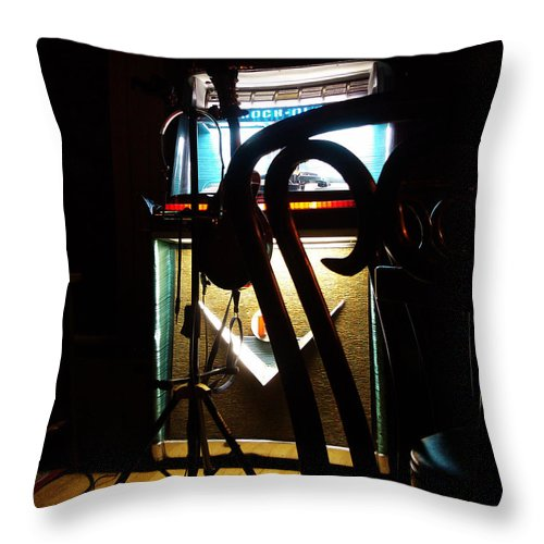Music Throw Pillow featuring the photograph Canned Music by Tim Nyberg