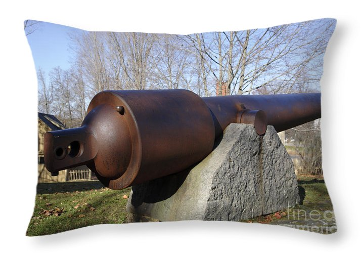 American Throw Pillow featuring the photograph Cannon - York Maine Usa by Erin Paul Donovan