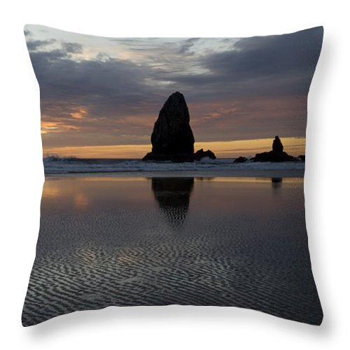 Cannon Beach Throw Pillow featuring the photograph Cannon Beach At Sunset 7 by Bob Christopher
