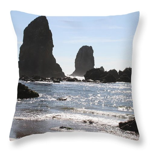 Sea Throw Pillow featuring the photograph Cannon Beach II by Quin Sweetman