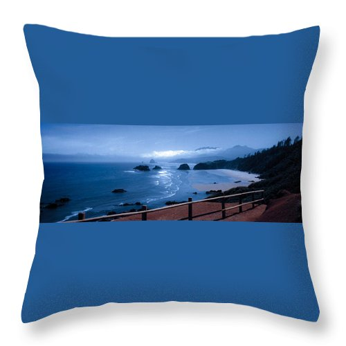 Cannon Beach Throw Pillow featuring the photograph Blue Waters On Cannon Beach by Joanne Rungaitis