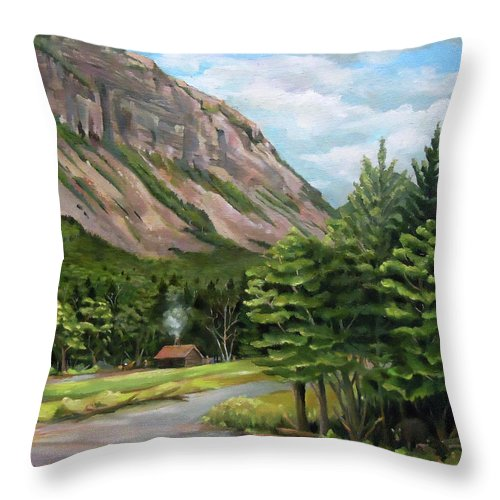 Cannon Mountain Throw Pillow featuring the painting Cannon Cliff New Hampshire by Nancy Griswold