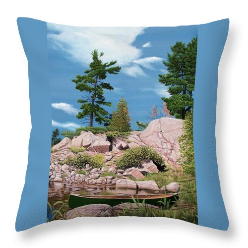 Landscapes Throw Pillow featuring the painting Canoe Among The Rocks by Kenneth M Kirsch