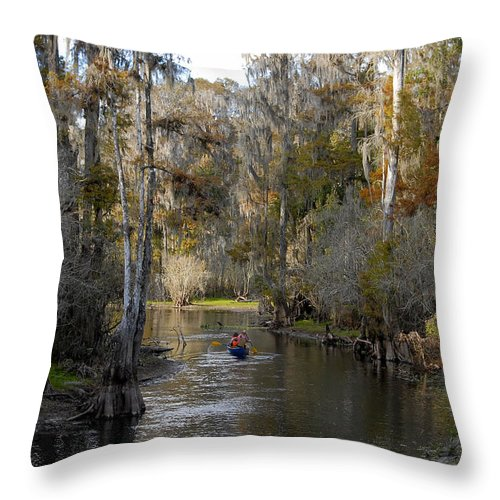 Family Throw Pillow featuring the photograph Canoeing In Florida by David Lee Thompson