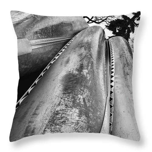 Lakes Throw Pillow featuring the photograph Canoes by Julian Grant