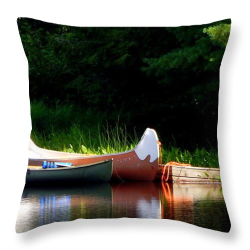 Canoes Of Keji Throw Pillow featuring the photograph Canoes Of Keji by Karen Cook