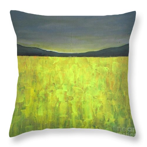 Landscape Throw Pillow featuring the painting Canola Fields N05 by Vesna Antic