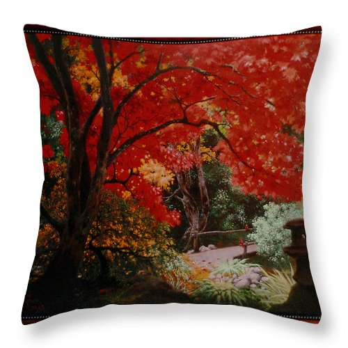 Oriental Throw Pillow featuring the painting Canopy Of Red by Stephen Lucas