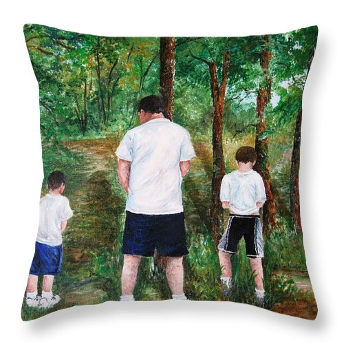 Dad Throw Pillow featuring the painting Can't Wait by Melissa Wiater Chaney