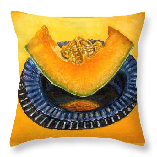 Cantaloupe Throw Pillow featuring the painting Cantaloupe Oil Painting by Natalja Picugina