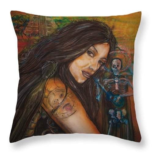 Skeleton Throw Pillow featuring the painting Cantando A Nuestros Pecados by Americo Salazar