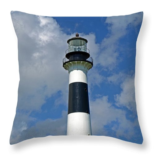 Lighthouse; Light; Canaveral; Cape; Cape Canaveral; Ccafs; Florida; East; Coast; Kennedy; Space; Cen Throw Pillow featuring the photograph Canveral Light Florida by Allan Hughes