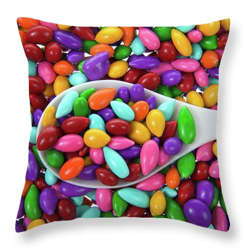 Coated Throw Pillow featuring the photograph Candy Covered Sunflower Seeds by Sheila Fitzgerald