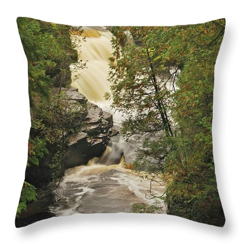 Michigan Throw Pillow featuring the photograph Canyon Falls 2 by Michael Peychich