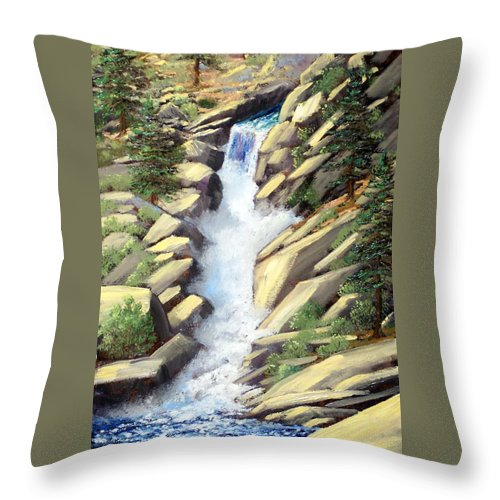 Landscape Throw Pillow featuring the painting Canyon Falls by Frank Wilson