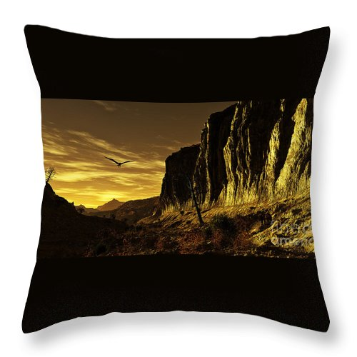 Terragen Throw Pillow featuring the digital art Canyon Hunt by Napo Bonaparte