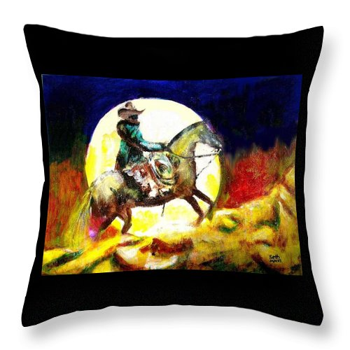 Canyon Moon Throw Pillow featuring the painting Canyon Moon by Seth Weaver