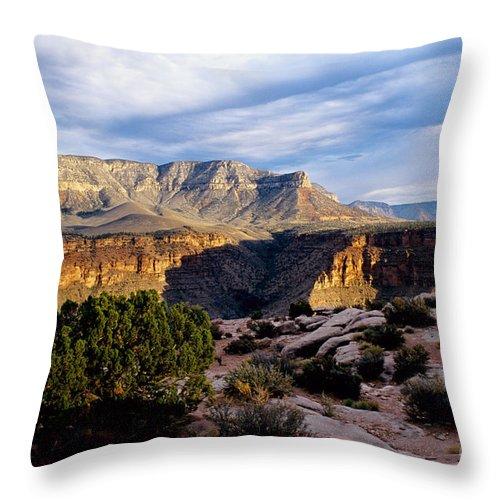 Toroweap Throw Pillow featuring the photograph Canyon Walls At Toroweap by Kathy McClure