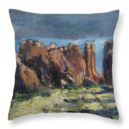 Canyonlands Throw Pillow featuring the painting Canyonlands Utah by Craig Newland