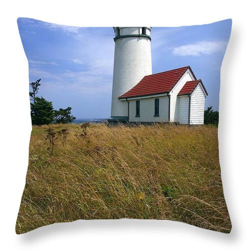 Lighthouse Oregon cape Blanco Light Coast Throw Pillow featuring the photograph Cape Blanco Light by Winston Rockwell