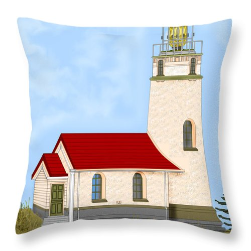 Lighthouse Throw Pillow featuring the painting Cape Blanco Oregon by Anne Norskog