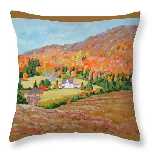 Landscape Throw Pillow featuring the painting Cape Breton Home by Carol Morrison