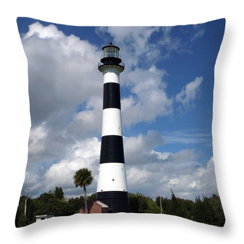 Lighthouse; Light; Canaveral; Cape; Cape Canaveral; Ccafs; Florida; East; Coast; Kennedy; Space; Cen Throw Pillow featuring the photograph Cape Canaveral Light Florida by Allan Hughes