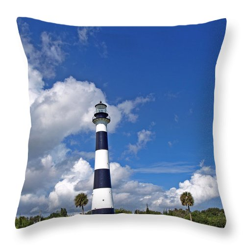 Lighthouse; Light; Canaveral; Cape; Cape Canaveral; Ccafs; Florida; East; Coast; Kennedy; Space; Cen Throw Pillow featuring the photograph Cape Canaveral Light In Florida by Allan Hughes
