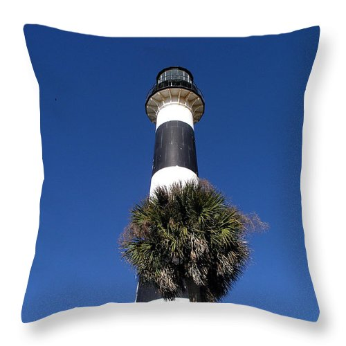 Cape; Canaveral; Light; Lighthouse; Lighthousekeeper; Keeper; Stairs; Kennedy; Space Center; Air For Throw Pillow featuring the photograph Cape Canaveral Light On The Atlantic Coast Of Florida by Allan Hughes