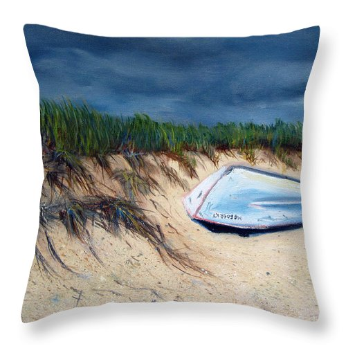 Boat Throw Pillow featuring the painting Cape Cod Boat by Paul Walsh