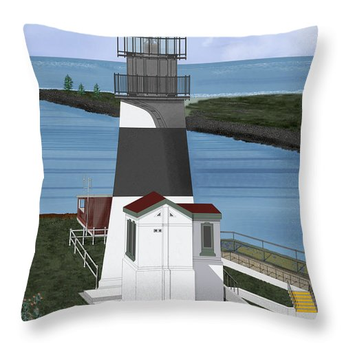 Lighthouse Throw Pillow featuring the painting Cape Disappointment At Fort Canby Washington by Anne Norskog